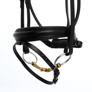 ALEQUI dressage bridle black anatomical neckpiece wide noseband closeup.jpg