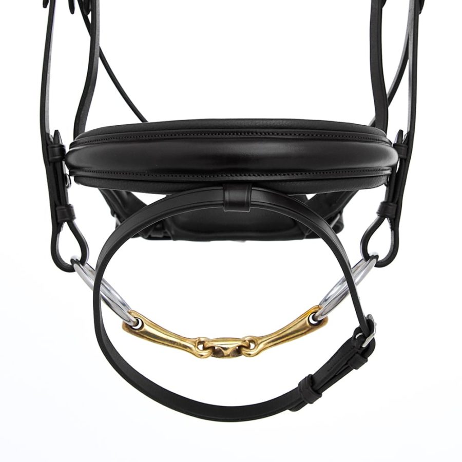 ALEQUI dressage bridle black noseband wide closeup