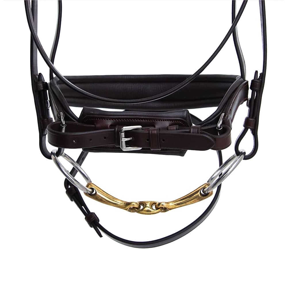 ALEQUI-dressage-bridle-havana-brown-anatomical-neckpiece-noseband-closeup.jpg