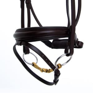 ALEQUI dressage bridle havana brown anatomical neckpiece wide noseband closeup.jpg