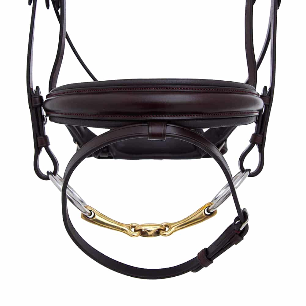 ALEQUI-dressage-bridle-havana-brown-noseband-wide-closeup