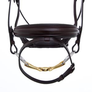 ALEQUI dressage bridle havana brown noseband wide closeup