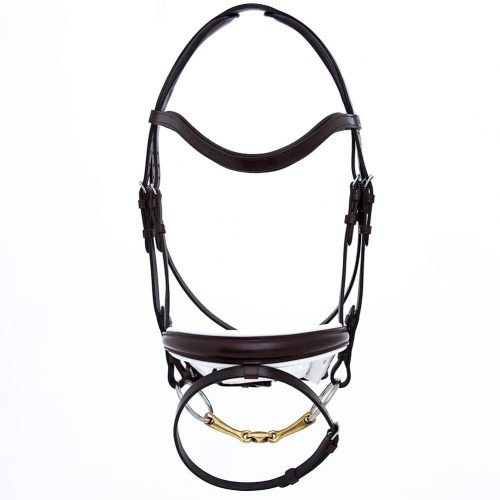 ALEQUI dressage bridle havana brown white anatomical neckpiece full