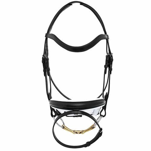 ALEQUI-dressage-bridle-black-white-anatomical-neckpiece-bridle-full
