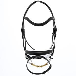 ALEQUI dressage bridle black white anatomical neckpiece bridle full