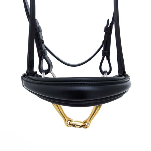 ALEQUI drop noseband black dressage closeup front