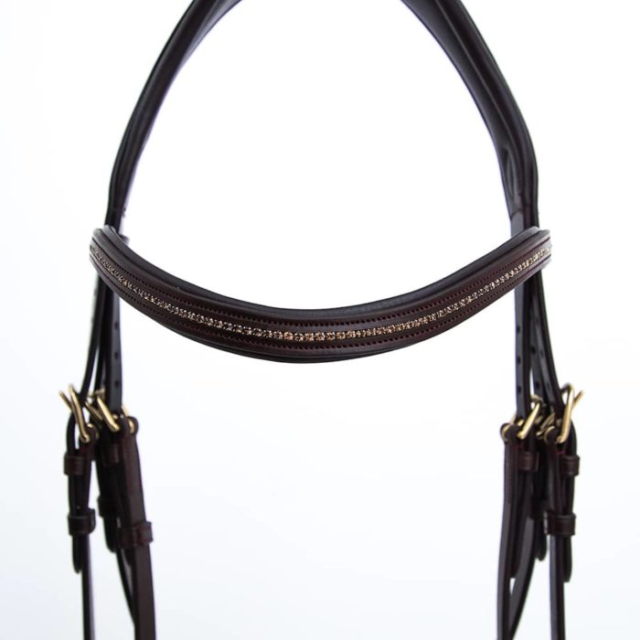 ALEQUI jumping bridle brass anatomical neckpiece noseband browband closeup