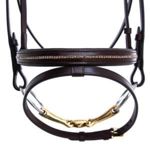 ALEQUI jumping bridle brass anatomical neckpiece noseband closeup crystals