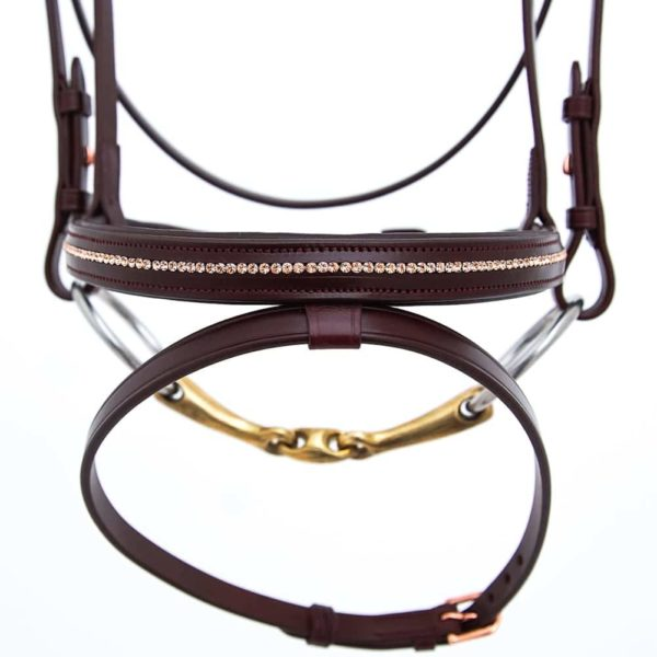 ALEQUI jumping bridle rose gold noseband full anatomical neckpiece closeup.jpg