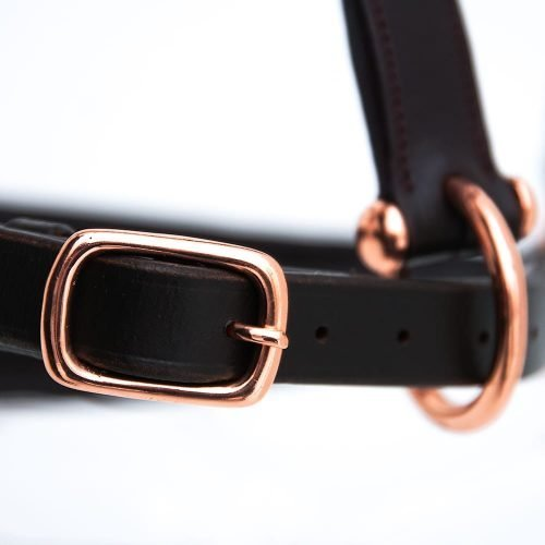 ALEQUI leather halter rose closeup