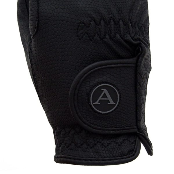 ALEQUI riding gloves black logo closeup