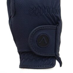 ALEQUI riding gloves blue logo closeup