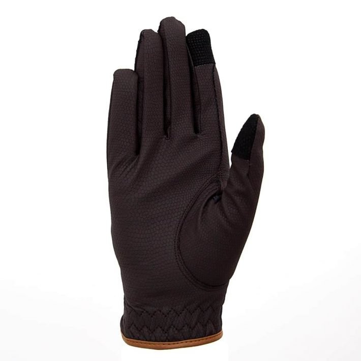 ALEQUI riding gloves brown caramel touch front full