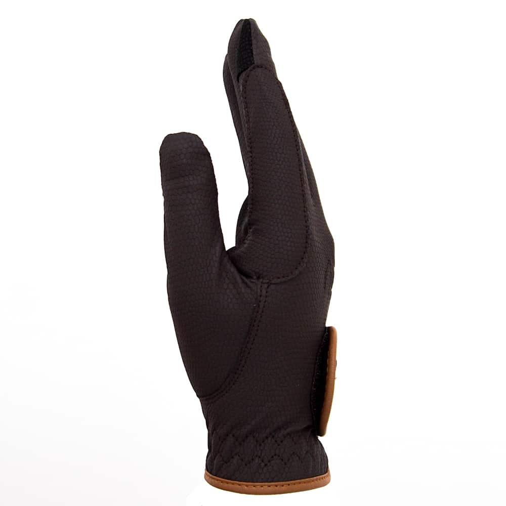 ALEQUI riding gloves brown caramel touch side full