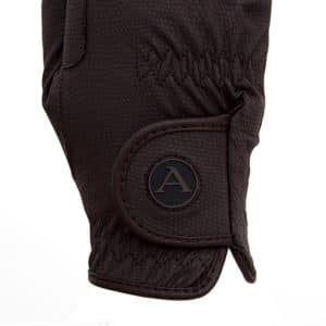 ALEQUI riding gloves brown logo closeup