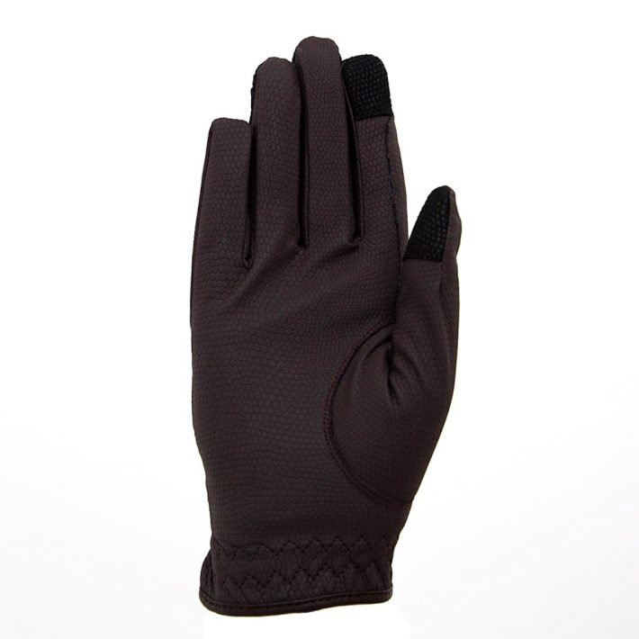 ALEQUI riding gloves brown touch front full