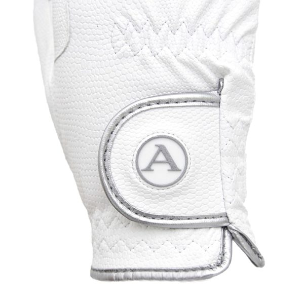 ALEQUI riding gloves white silver closeup