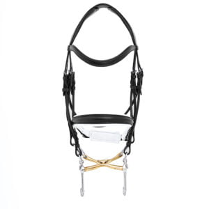 ALEQUI weymouth bridle black white anatomical neckpiece full