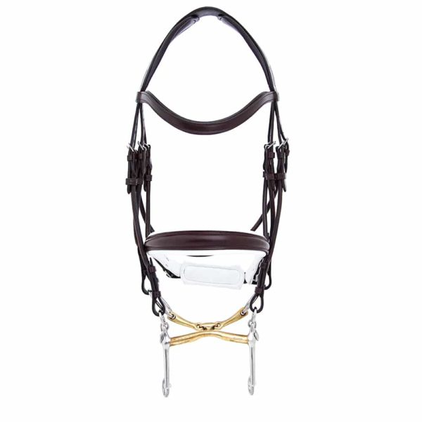 ALEQUI weymouth bridle havana brown white anatomical neckpiece full