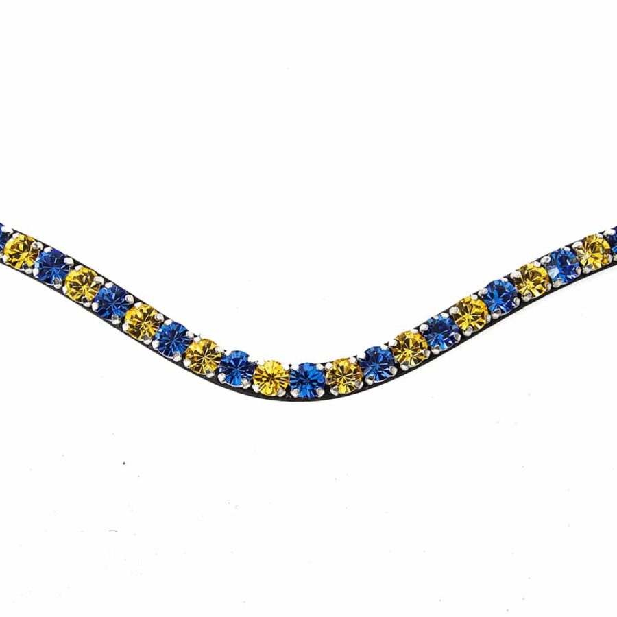 ALEQUI browband blue yellow closeup